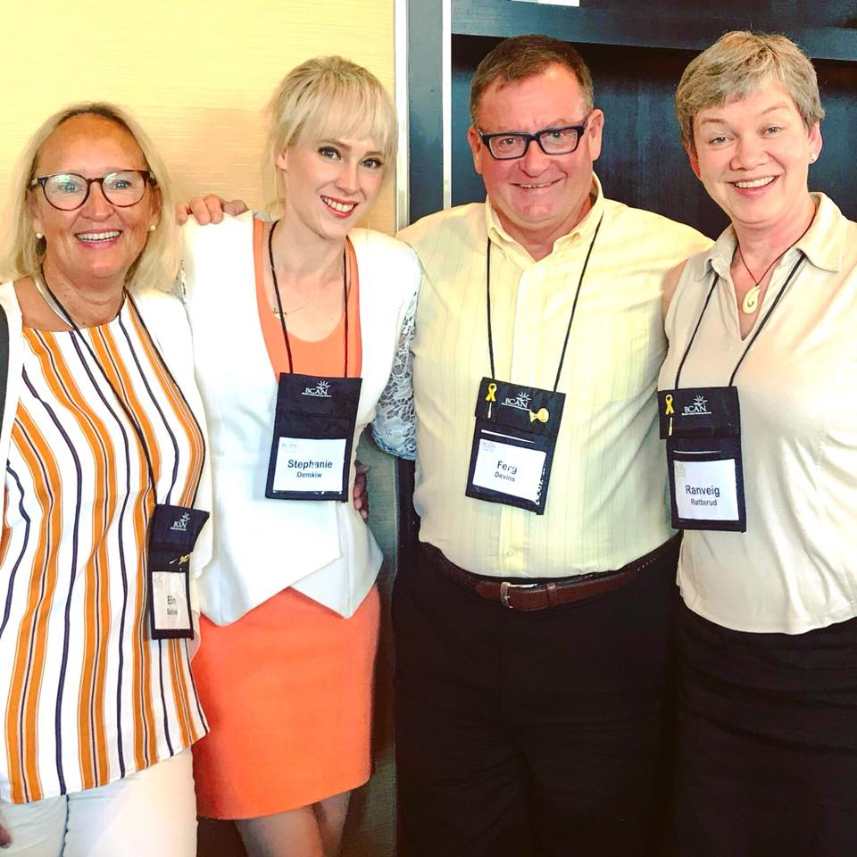 (L-R ) International patient advocates Elin, Stephanie, Ferg and Ranveig from Norway, Australia, Canada and Norway respectively.